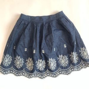 Francesca's Alya M Chambray Embroidered Skirt